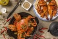 Baked crab and roasted chicken at San Xi Lou, where Enrico Gili and his wife – fans of spicy food – dine often in Hong Kong.