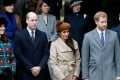 Britain's Catherine, Duchess of Cambridge, (L) and Britain's Prince William, Duke of Cambridge, (2L), US actress and fiancee of Britain's Prince Harry Meghan Markle (2R) and Britain's Prince Harry (R) stand together as they wait to see off Britain's Queen Elizabeth II after attending the Royal Family's traditional Christmas Day church service at St Mary Magdalene Church in Sandringham, Norfolk, eastern England, on December 25, 2017. Photo: AFP/Adrian DENNIS