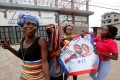 Supporters of George Weah celebrate after the announcement of the presidential election results in Monrovia, Liberia. Photo: Reuters