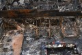 A general view of the restaurants destroyed in a fire in Mumbai, India. Photo: Reuters