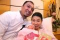 Pan Cheung and his wife Imma Chan with their newborn son at Hong Kong Baptist Hospital. Photo David Wong