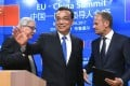 Premier Li Keqiang (centre), European Commission President Jean-Claude Juncker (left) and European Council President Donald Tusk leave the podium after a press conference at the end of an EU-China summit in Brussels in June. Photo: AFP