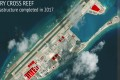 A satellite image from the Asia Maritime Transparency Initiative in the US showing Chinese construction work on Fiery Cross Reef in the disputed Spratly Islands chain in the South China Sea. Photo: AP