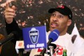 LaVar Ball talks at a press conference in Prienai, Lithuania, where his sons LaMelo Ball and LiAngelo Ball play for local club Vytautas. Photo: AFP