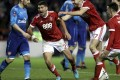 Nottingham Forest's Eric Lichaj (centre) celebrates scoring against Arsenal in the FA Cup third round. Photo: AP
