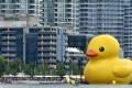 A 19-metre-tall rubber duck floats in Toronto Harbour. The city's property sales market has cooled over the past seven months, but the average price of a home is still C$735,021. Photo: EPA