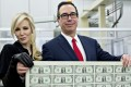 China's foreign exchange reserves, the bulk of which are held in US dollars, rose by US$20.7 billion in December. Steven Mnuchin, US Treasury secretary, and his wife Louise Linton pose with a 2017 50 subject uncut sheet of US$1 dollar notes. Photo: Bloomberg