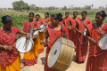 """The Sargam Mahlia Band perform in rural India. The group is composed of members of India's lowest, """"untouchable"""" caste – and yet they are booked to perform at weddings and corporate functions, upending the society's norms. Image: People's Archive of Rural India via YouTube"""