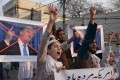 Pakistani religious students protest against US President Donald Trump in Lahore. Photo: TNS