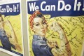 """""""Rosie the Riveter"""" posters showing signatures of women wartime factory workers are seen at the offices of the Rosie the Riveter/World War II Home Front National Historic Park in Richmond, California. Photo: AP"""