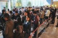 Buyers queue up at the debut of Sun Hung Kai Properties St Barths on January 18, 2018. Photo: Roy Issa