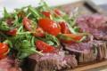 The Butchers' Cut flank steak tagliata with rocket and cherry tomatoes by Pirata, Wan Chai.