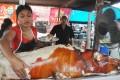 Babi Guling at a street stall in Ubud.