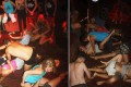 """Images of the a group of unidentified foreigners at a party in Siem Reap. Cambodian authorities have detained 10 people from a group of 90, claiming they were """"dancing pornographically"""" near the sacred Angkor Wat temple complex. Photo: AP"""