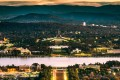 Australia's capital Canberra, and the country's Parliament House.