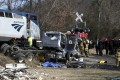 This was the scene after a train carrying Republican lawmakers to a retreat struck a garbage truck in Virginia on Wednesday, None of the lawmakers were seriously injured but a passenger in the truck was killed, authorities said. Photo: The Daily Progress via AP