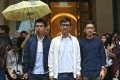 (From left) Former student leaders Joshua Wong Chi-fung, Alex Chow Yong-kang and Nathan Law Kwun-chung outside the Court of Final Appeal. Photo: Sam Tsang