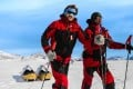 Father and son Robert and Barney Swan are the first people to walk to the South Pole using only renewable energy. Photos: Handout