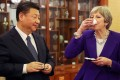President Xi Jinping hosts British Prime Minister Theresa May at a tea ceremony in Beijing on February 1. May arrived in China at the head of the largest business delegation her government has ever taken overseas as she sought to put her Brexit troubles aside and boost trade ties. Photo: Bloomberg