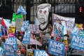 Protesters rally in support of the state-run National Health Service in London. Photo: AFP