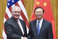 US Secretary of State Rex Tillerson (left) and State Councillor Yang Jiechi meet in Beijing in September. Photo: Xinhua