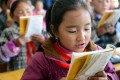 A pupil recites an article in the Tibetan language at a junior school in Xiahe county of Gansu province, in northwest China, home of the great Labrang monastery. The school holds classes in both Tibetan and Han languages for its more than 600 students. Photo: Xinhua