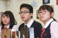 Students Winky Cheng Wai-ki, Justin Chau and Helen Leung have set up their own company. Photo: Xiaomei Chen
