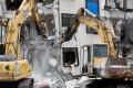 Excavators demolish the collapsed Marshal hotel after tremors hit Hualien in Taiwan. Photo: Reuters