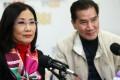 Liza Wang Ming-chun and Chinese Artists Association of Hong Kong vice-chairman Mo Yu-tin. Photo: Xiaomei Chen