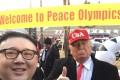Dennis Alan as US President Donald Trump with 'Howard' as North Korean leader Kim Jong-un at the Winter Games in Pyeongchang, South Korea. Photo: Handout