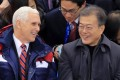 US Vice-President Mike Pence and South Korean President Moon Jae-in. Photo: EPA