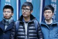 (Left to right): Joshua Wong Chi-fung, Alex Chow Yong-kang; and Nathan Law Kwun-chung outside the Court of Final Appeal in Central. Photo: Sam Tsang
