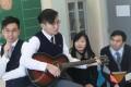 (From left) Kwan Chi-kuen, vice-principal; Wan Tsz-kin, Form Five student; Wong Lee-lee, principal; and Chinese teacher Chan Yik-yeung, at the Bishop Hall Jubilee School in Kowloon Tsai. Photo: Winson Wong