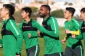 Congolese striker Cedric Bakambu trains with Beijing Guoan at their training camp in Algarve, Portugal. Photo: Handout
