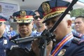 Philippine National Police Chief Ronald Dela Rosa was honoured by the Indonesian police for his cooperation and good relations. Photo: AP
