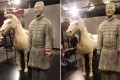 The ancient Chinese terracotta warrior before and after its left thumb is removed while on display at a museum in the US city of Philadelphia. Photo: Peopleapp.com