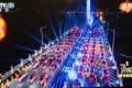 Performers dance around driverless cars lined up on the Hong Kong-Zhuhai-Macau bridge for the Spring Festival Gala. Photo: Handout