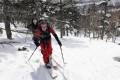 Two ski tourers skin up a mountain in Hakuba, Japan. Photo: Alf Alderson