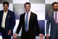 Donald Trump Jr. gestures as Basant Bansal, Chairman and Managing Director of M3M India and Kalpesh Mehta, founder of Tribeca Developers, look on during a photo opportunity before start of a meeting in New Delhi, India. Photo: Reuters