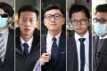 (L-R) Lam Lun-hing, Lam Ngo-hin, Edward Leung Tin-kei, Lo Kin-man and Lee Nok-man. Photos: Winson Wong, Edward Wong