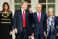 US President Donald Trump and first lady Melania Trump welcome Australian Prime Minister Malcolm Turnbull and his wife Lucy. Photo: Reuters