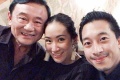 Thaksin Shinawatra with his daughter Pintongta Shinawatra and son-in-law Nattapong Kunakornwong on February 16. Photo: Instagram