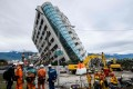 The partially collapsed Yun Tsui building where many of the victims of the earthquake died. Photo: Agence France-Presse