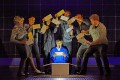 Joshua Jenkins (centre) as Christopher Boone in the The Curious Incident of the Dog in the Night-Time.