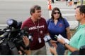 Mathematics teacher Jim Gard speaks with reporters at Marjory Stoneman Douglas High School in Parkland, Florida, on February 23. Photo: Reuters