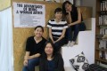 Asia Art Archive's Phoebe Wong (front) with artists (from left) Ho Sin-tung, Ko Sin-tung, and Elva Lai at Ho's studio. Photo: Peter Bird