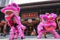 A Hong Kong lion dance performance at Wong Tai Sin Temple in Kowloon. Photo: Felix Wong