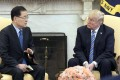 South Korean national security chief Chung Eui-yong briefs US President Donald Trump about his visit to North Korea, in Washington on Thursday. Photo: Reuters