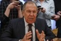Russian Foreign Minister Sergei Lavrov is seen in a meeting with a South Korean official on Monday. The Russian Foreign Ministry has threatened retaliation against the UK for expelling its diplomats from Britain. File photo: Pool via EPA-EFE