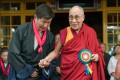 The Dalai Lama with Lobsang Sangay, the leader of the Central Tibetan Administration near Dharamsala. Photo: AFP